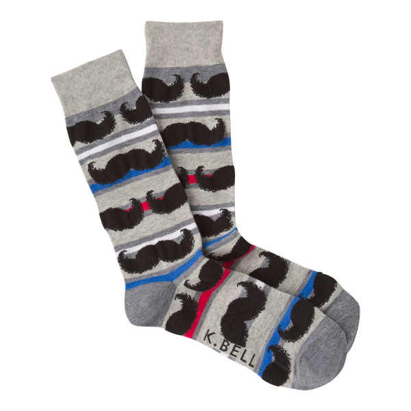 Men's Mustache Stripe Crew Socks