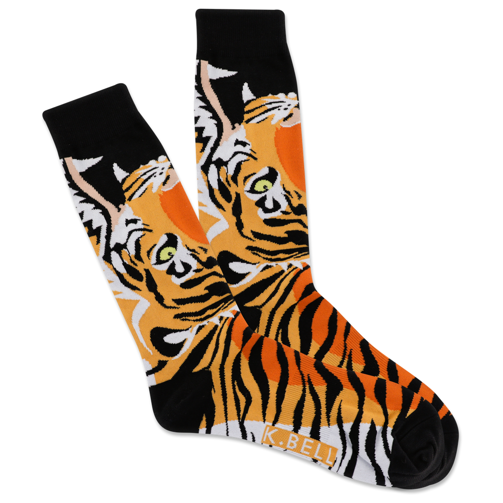 Men's Open Mouth Tiger Crew Socks