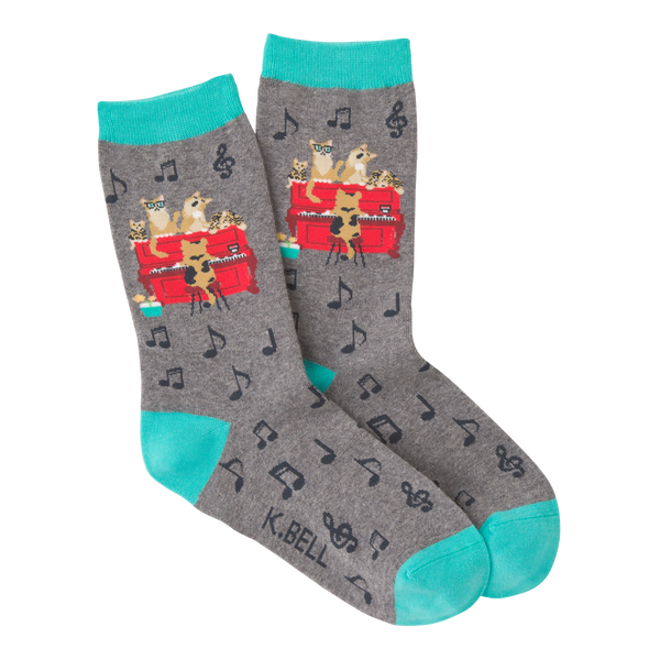 Women's Piano Cat Crew Socks