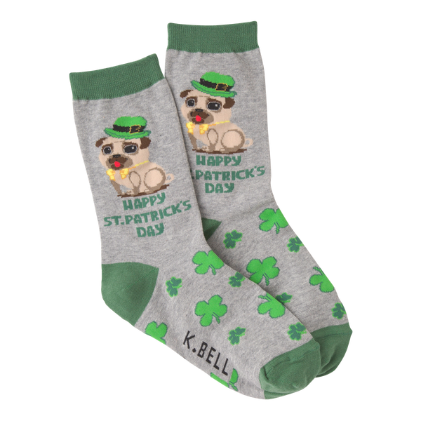 Women's St Patrick's Day Pug Crew Socks