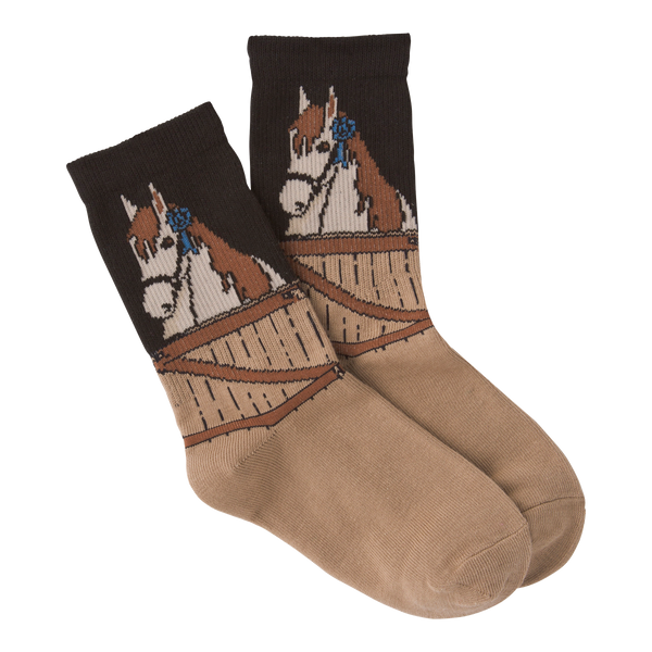 Kid's Blue Ribbon Horse Crew Socks