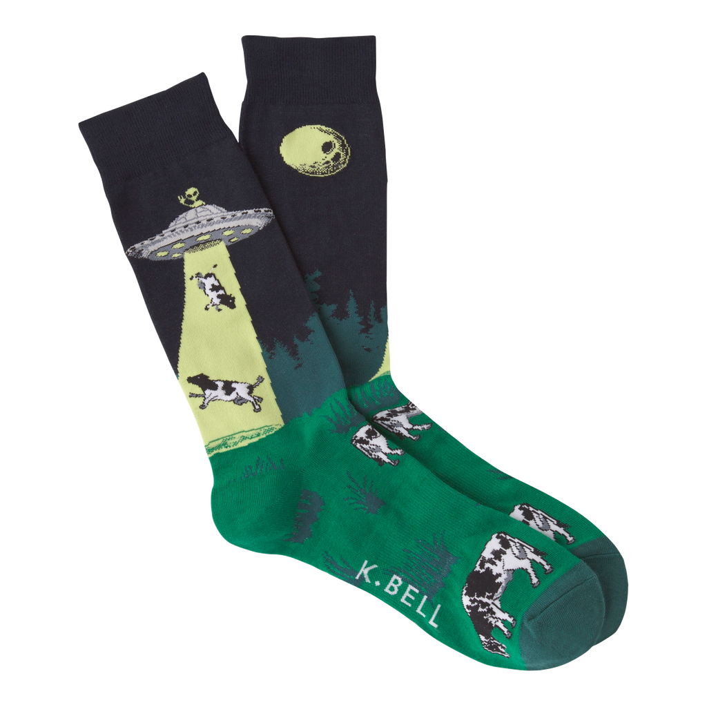 Men's Cow UFO Abduction Crew Socks