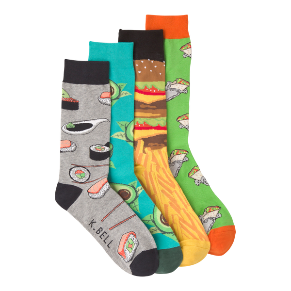 Men's Fun Food Crew Socks Gift Box Four Pair