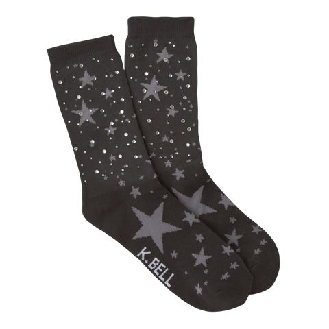 Women's Starry Night Rhinestones Crew Socks - American Made