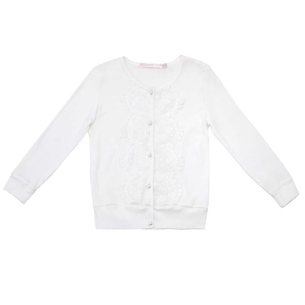 girls - short cake cardigan - ivory