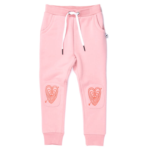 Minti - Hearts On Hearts Furry Patch Trackies - Muted Pink