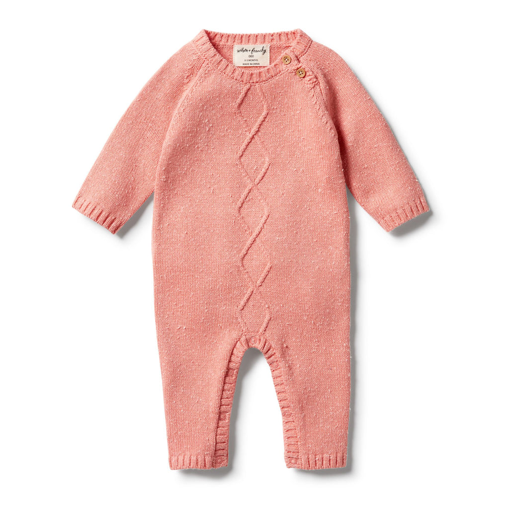 Wilson & Frenchy - baby girl - Flamingo Fleck Knitted Cable Ruffle Growsuit