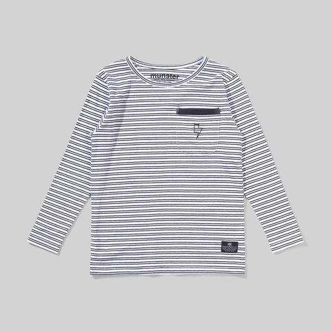 Munster - Lines L/S Tee - White / Soft Black Stripe