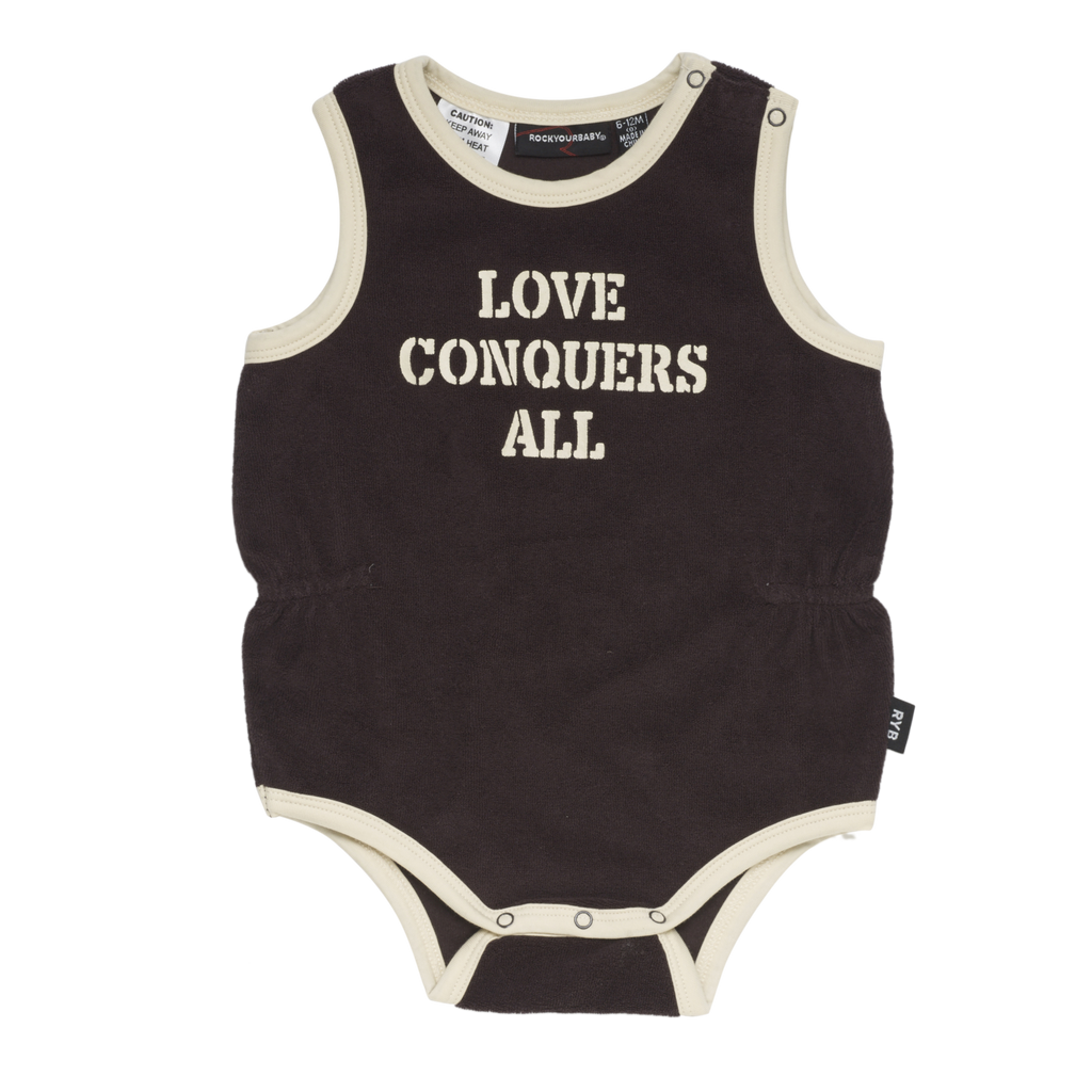 rock your baby - baby girl - love conquers all singlet - chocolate