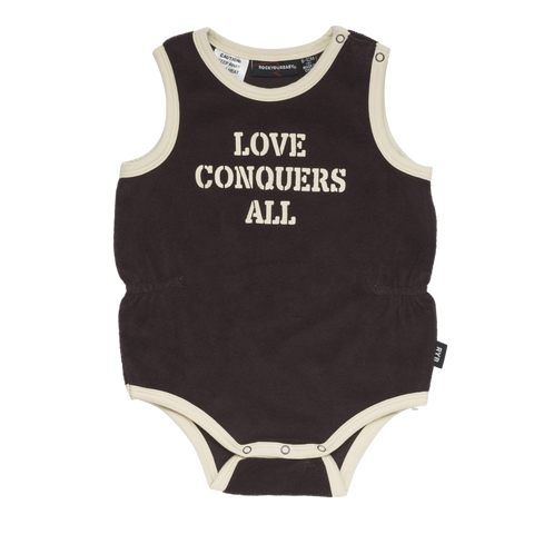 rock your baby love conquers all singlet - chocolate