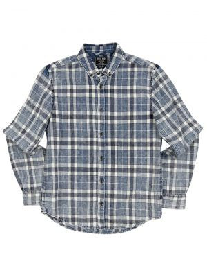 boys - san mateo long sleeved shirt - blue check