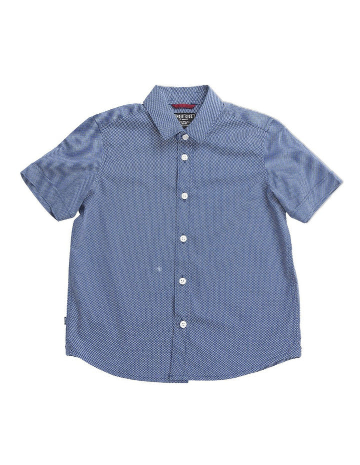 boys - tight polka ss shirt - navy