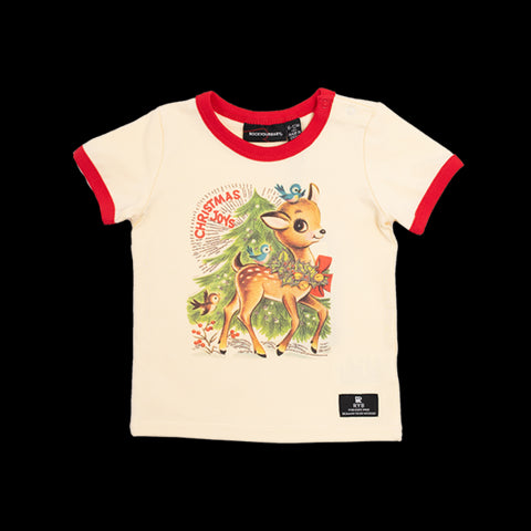 Baby girl - reindeer joy ss tshirt - cream