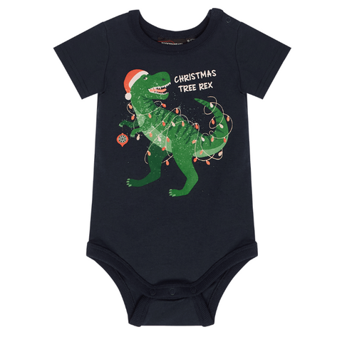 Rock Your Baby Christmas Tree Rex Bodysuit - Navy