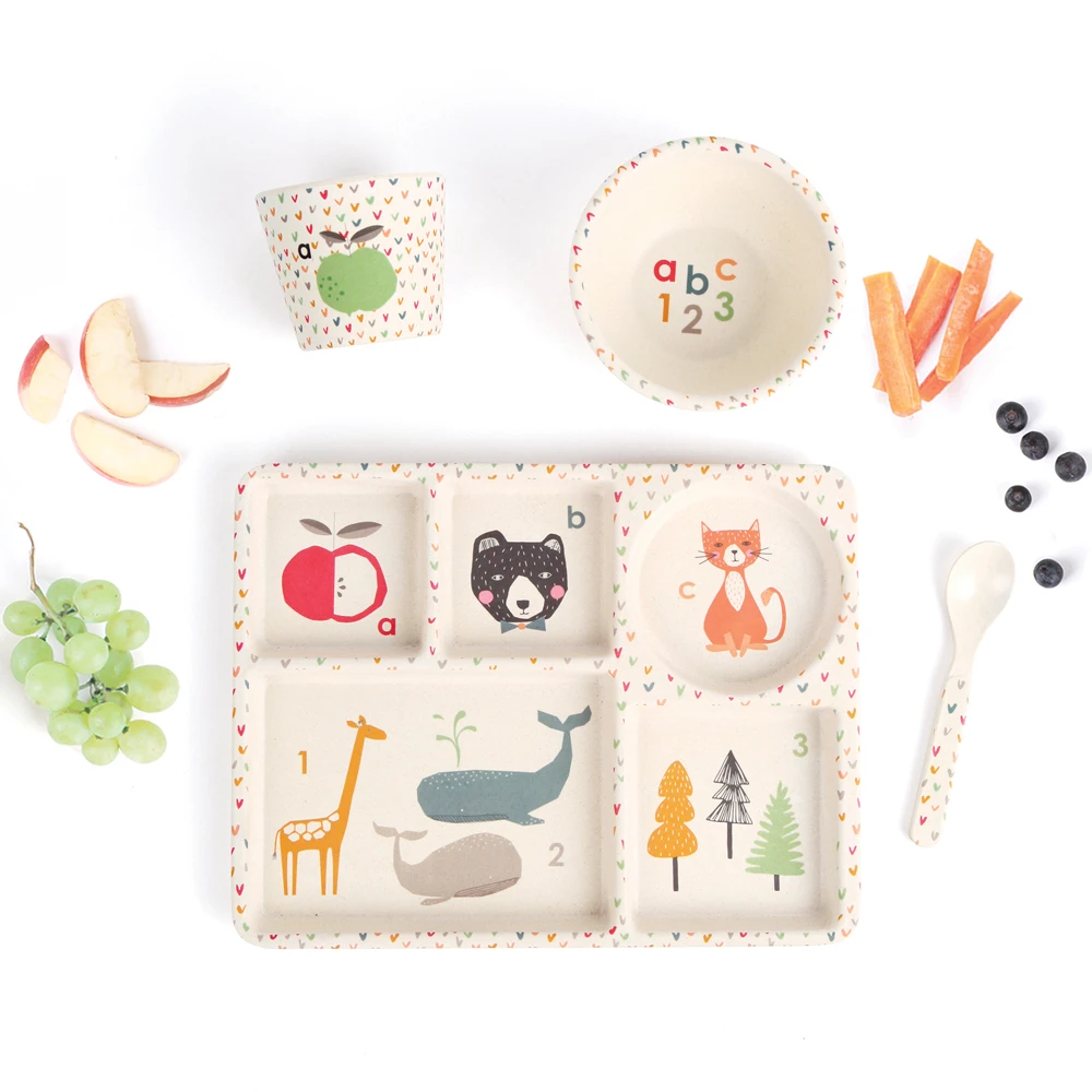 Love Mae - Bamboo Divided Plate Set- ABC