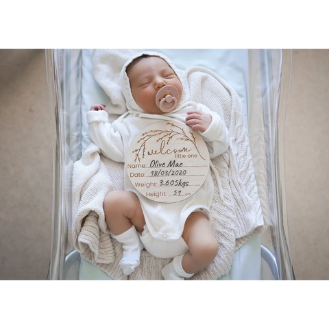 Hello Fern Wooden Welcome To The World Little One Birth Announcement Disc - Whimsical