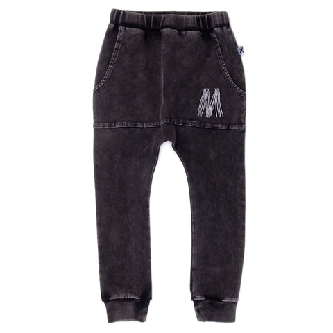 Minti - Blasted Pouch Trackies - Black Wash