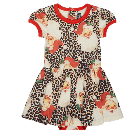 Rock Your baby Leopard Santa Baby Waisted Dress