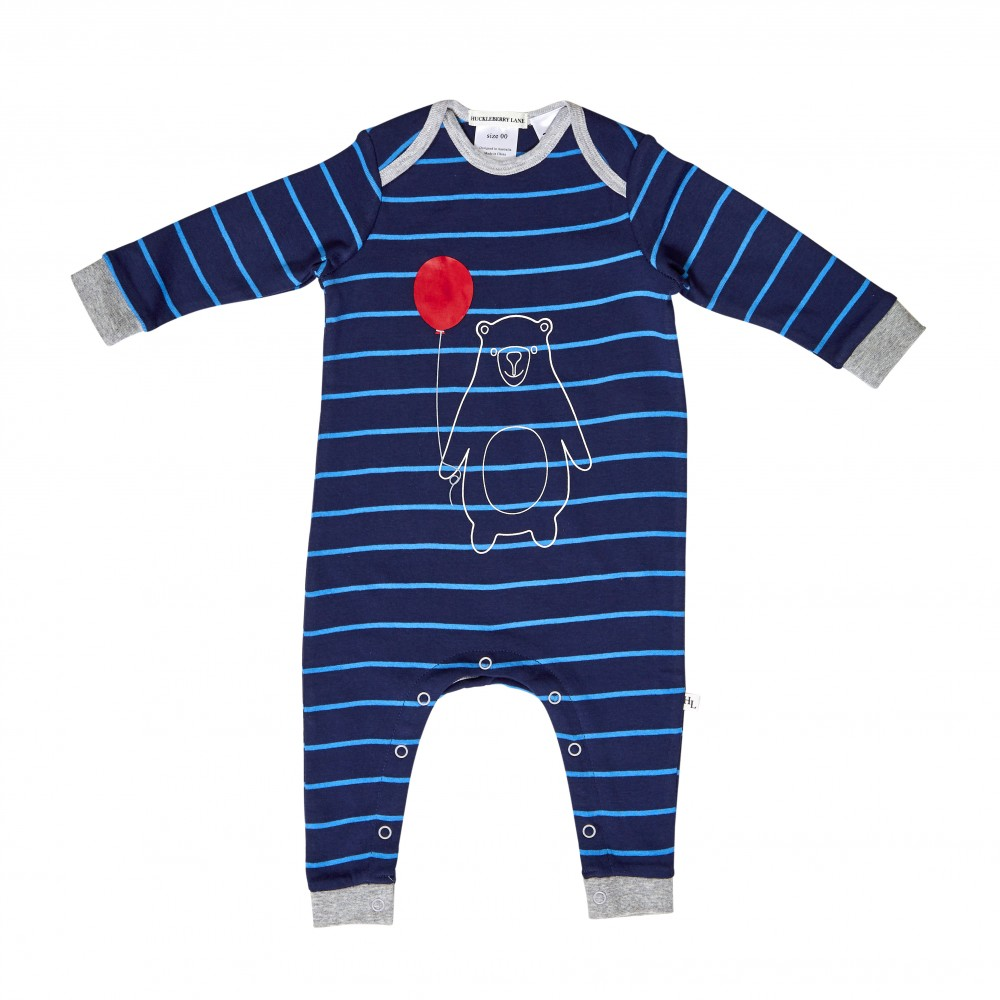 Huckleberry Lane - Bear Romper - Blue Stripe