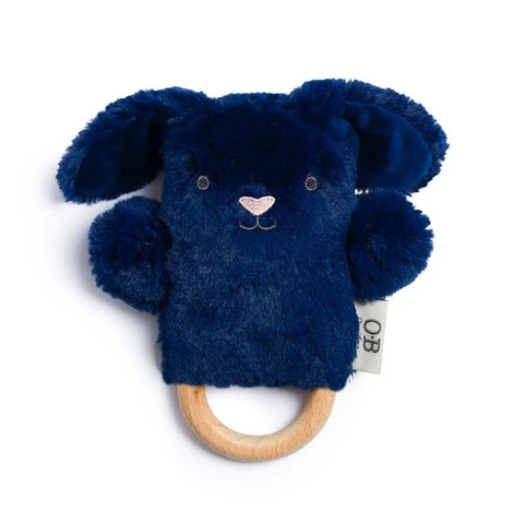 Ob Designs Wooden Teething Rattle Bobby Bunny - Navy