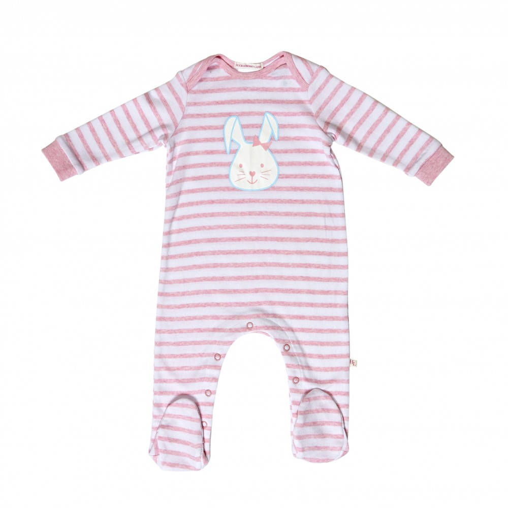Huckleberry Lane - Bunny Romper - Pink / White