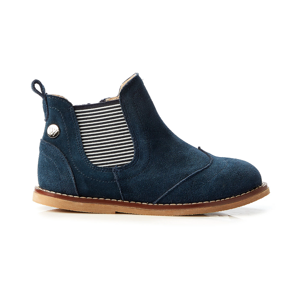 Walnut - boys - burrow suede boot - navy
