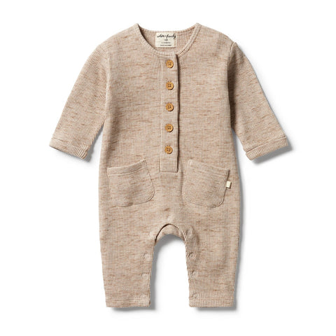 Wilson & Frenchy - baby - Oatmeal Fleck Waffle Slouch Growsuit