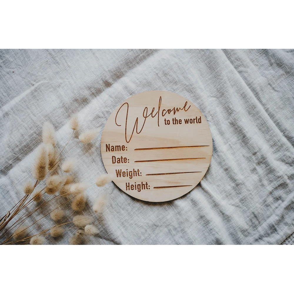 Hello Fern -  Wooden -Welcome To The World Birth Announcement Disc