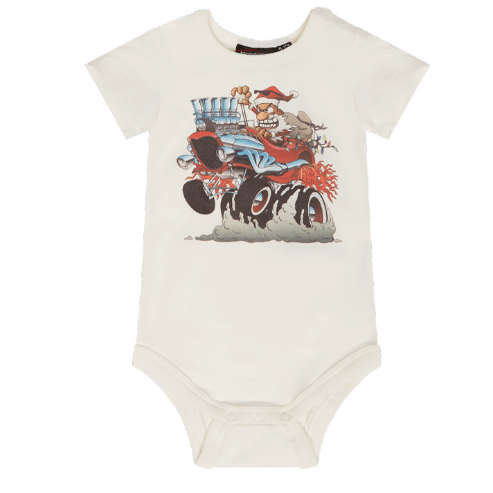 Rock Your Baby Santa Hot Rod Bodysuit - Cream