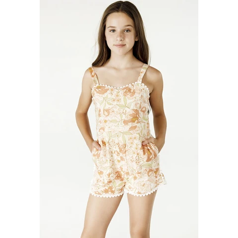 girls - lanie trim playsuit - retro