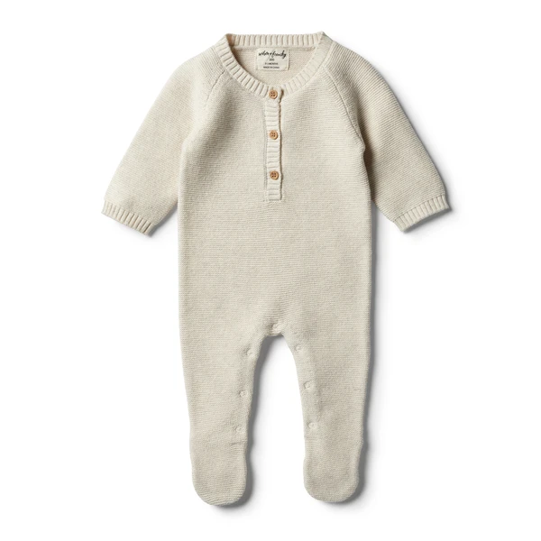 Wilson & Frenchy - baby - Oatmeal Footed Knitted Growsuit