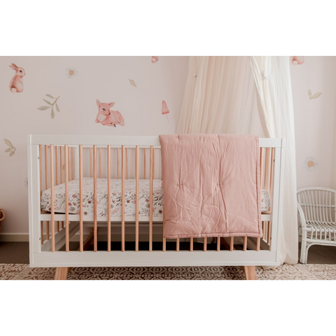 My Little Giggles - Organic Cotton Play Blanket/ Cot Quilt - Dusty Pink