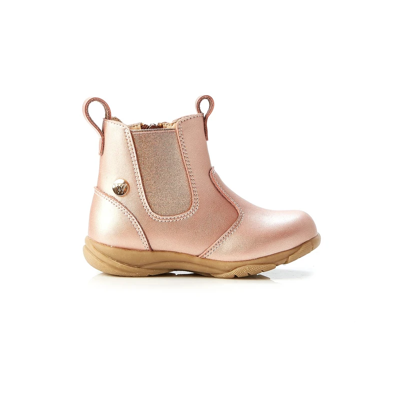 Walnut-  girls - rodeo leather boot - rose gold