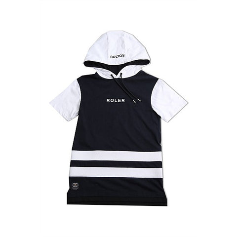 Indie Kids  - double stripe short sleeved hoodie - navy