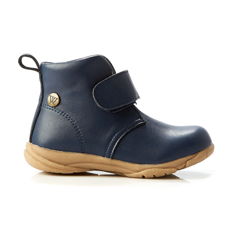 Walnut - boys - rover leather strap boot - navy