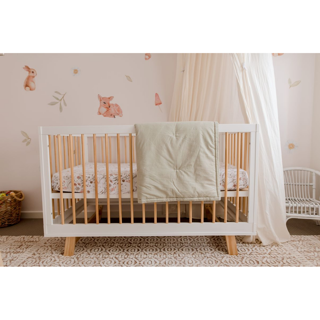 My Little Giggles - Organic Cotton Play Blanket/Cot Quilt - Dusty Sage