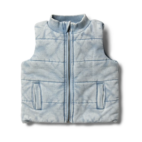 Wilson & Frenchy Shark Grey Denim Look Quilted Vest