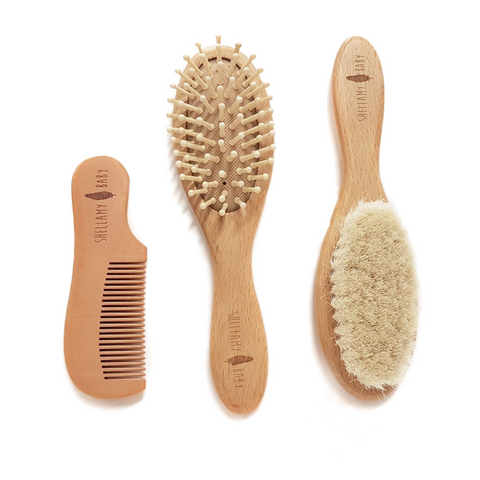 SHELLAMY BABY - 3 PIECE WOODEN BABY HAIRBRUSH AND COMB SET