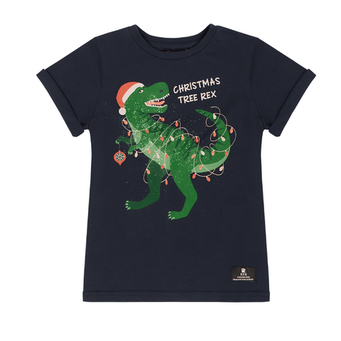 Rock Your Baby Christmas Tree Rex T-Shirt - Navy