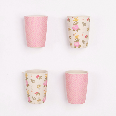 Love Mae - Bamboo Tumblers 4 Pack - Floral & Pink Spot