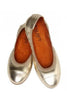 Walnut - Girls Ava Leather Elastic shoe - Soft Gold