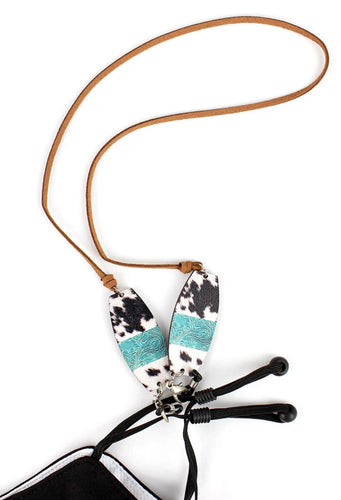 Turquoise Cow Face Mask Lanyard