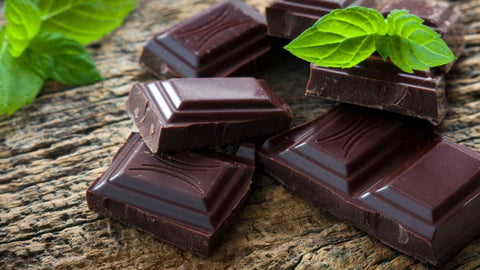 dark chocolate squares with mint