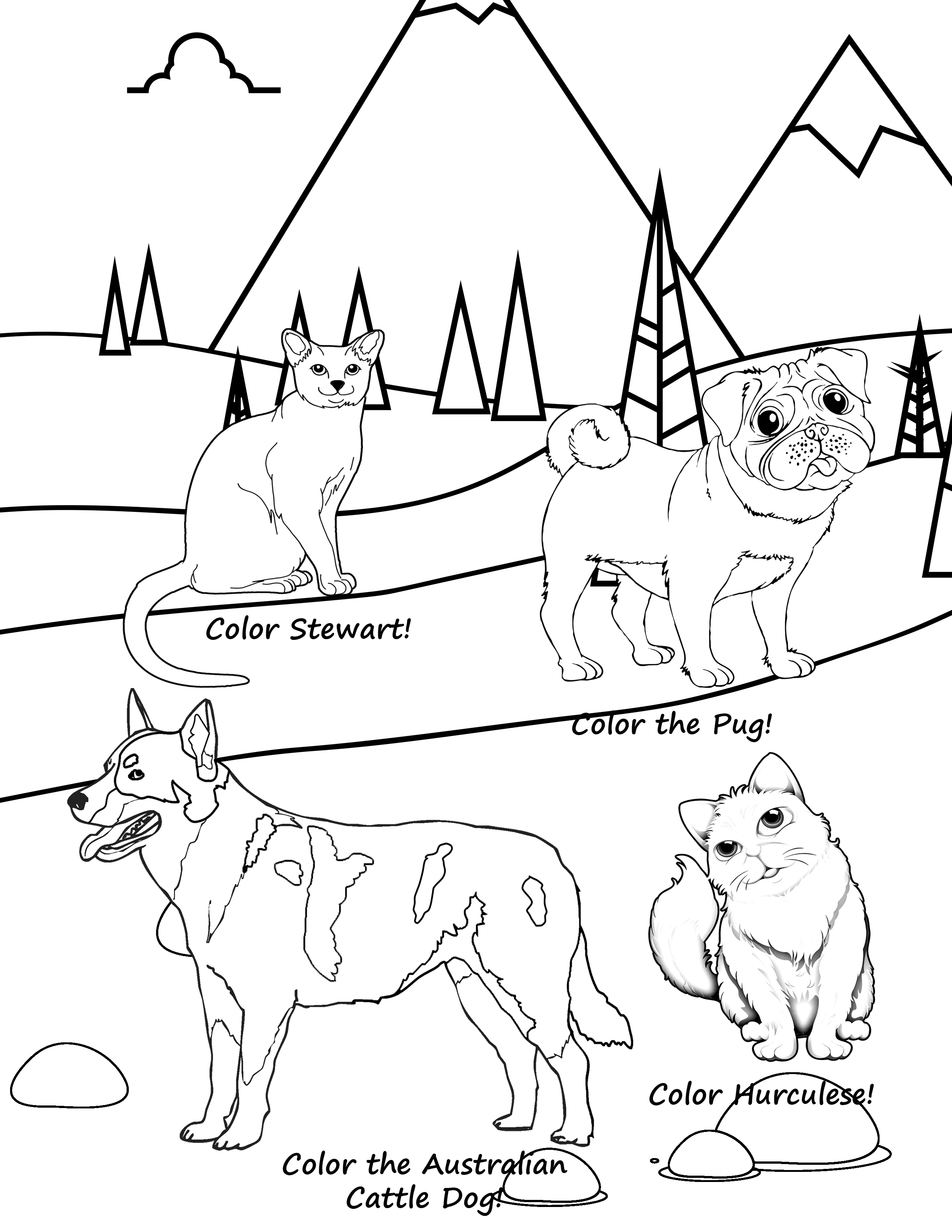 Pets In The Winter: Children's Coloring Book