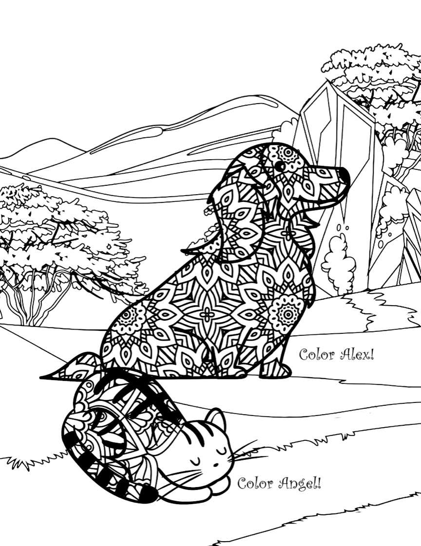 Pets on Vacation: A Mandala Coloring Book for Adults