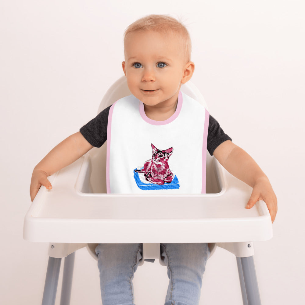 Embroidered Baby Bib: Abyssinian Cat