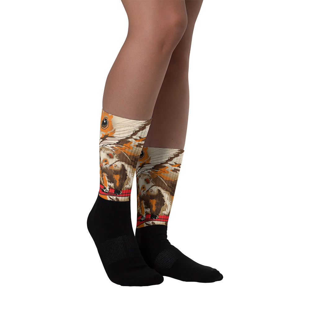 Black Foot Sublimated Socks: Ferret