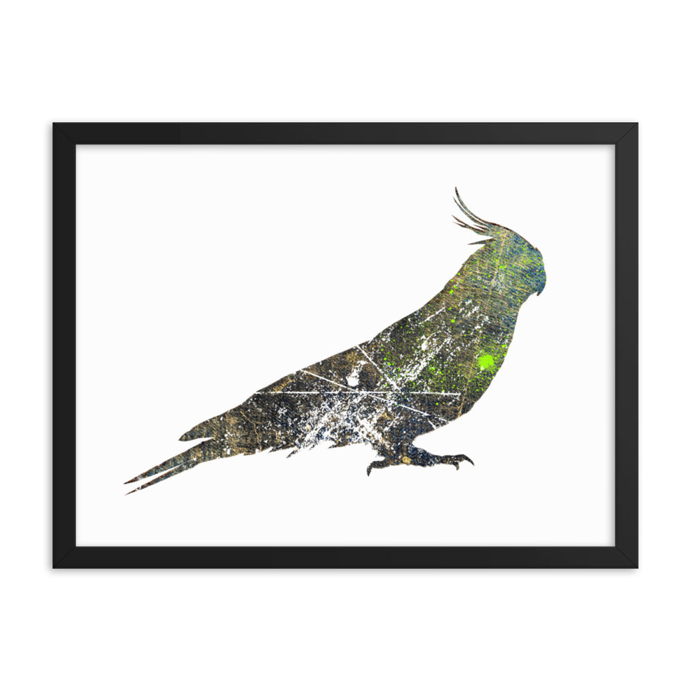 Enhanced Matte Paper Framed Poster (in): Cockatiel Silhouette