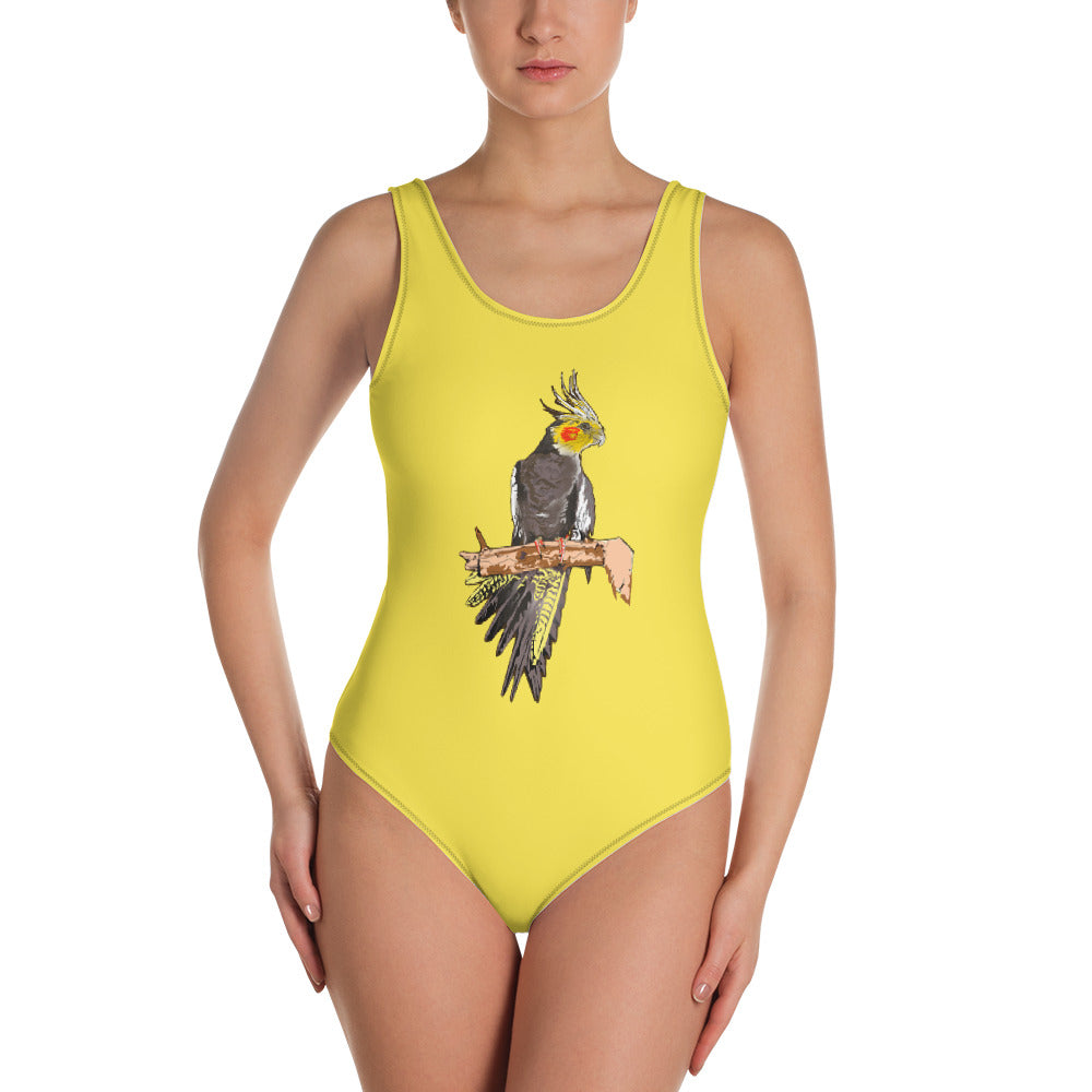 All-Over Print One-Piece Swimsuit: Cockatiel