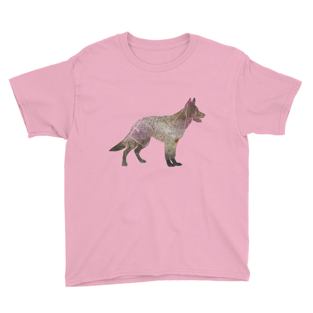 Youth Lightweight T-Shirt: German Shepherd Silhouette